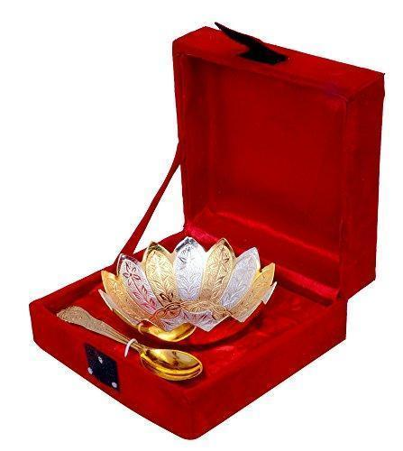 "Silver Plated - IN-INDIA Gold & Silver Plated Brass Lotus Flower Shaped Bowl 4"" Diameter With Spoon"
