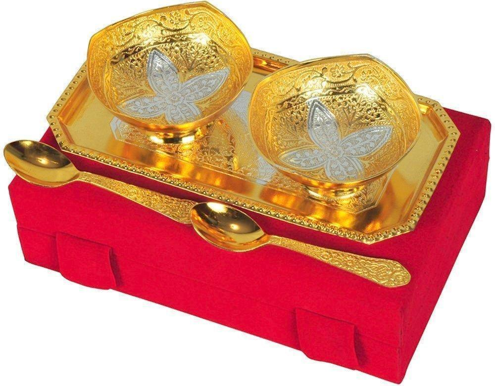 Silver Plated - IN-INDIA Handmade Silver And Gold Plated Brass Bowl 5 Pices Set Comes With Gift Pack