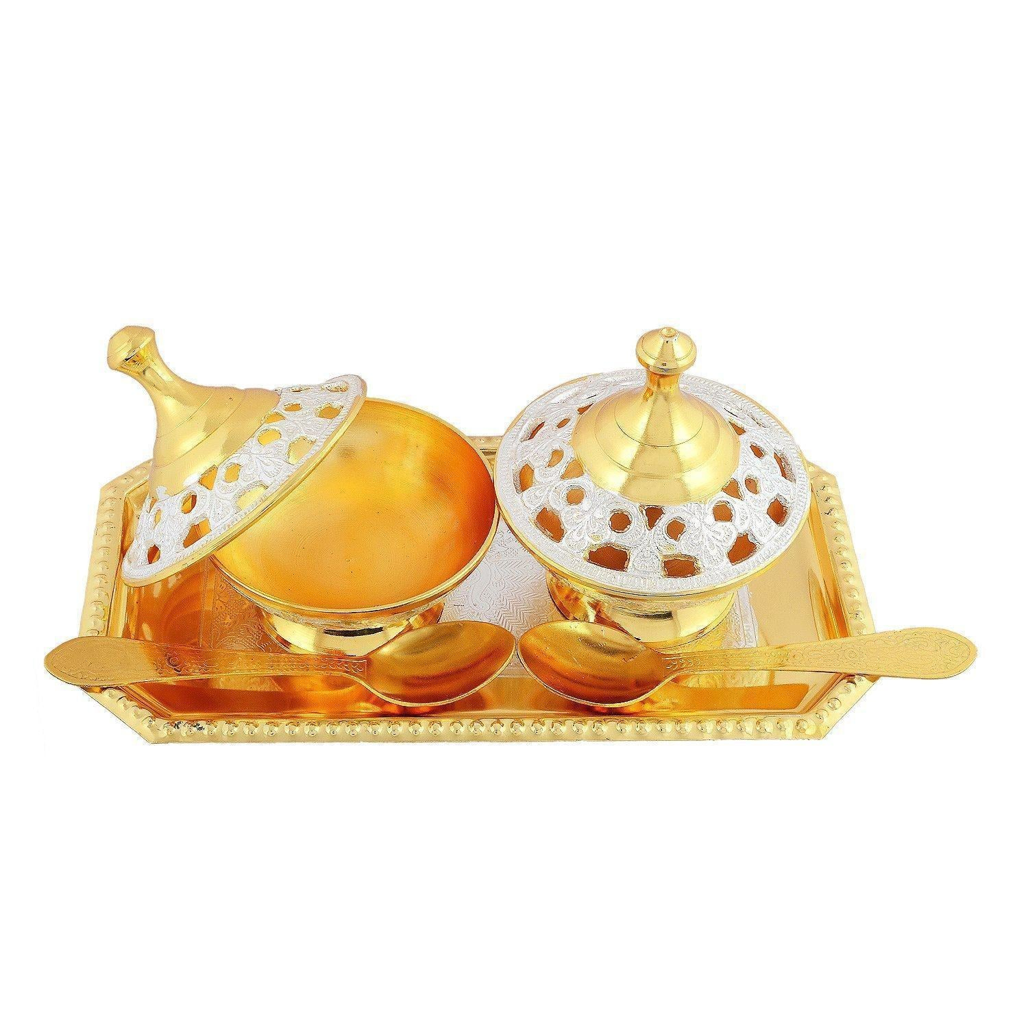 Silver Plated - IN-INDIA Occasional Gift Silver And Gold Plated Brass Mouth Freshener Set