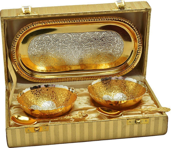 Silver Plated - IN-INDIA Party Gifts Silver Gold Plated Bowl Set With Beautiful Box
