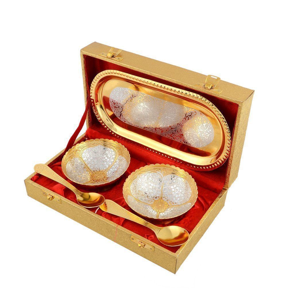 Silver Plated - IN-INDIA Serve Your Guest With Silver And Gold Plated Royal Bowls Set In Golden Box