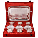 Silver Plated - IN INDIA Silver Plated  6 Cup Plate Set With Tray ( 13 In 1)
