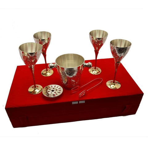 Silver Plated - IN INDIA Silver Plated  Royal Brass Wine Glass With Ice Bucket