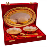 Silver Plated - IN-INDIA Traditional Design Silver And Gold Plated Bowl Set With Tray