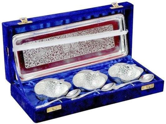 Silver Plated - ININDIA Silver Plated Apple Designer Spoon,Bowl And Tray Set