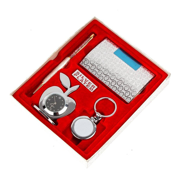 Silver Plated - ININDIA  Silver Plated Gift Items Hamper Set ( 4 In 1 )
