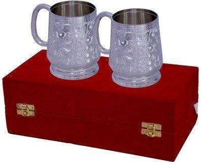 Silver Plated - ININDIA Traditional Silver Plated 2 Piece Coffee/Wine Mug Set