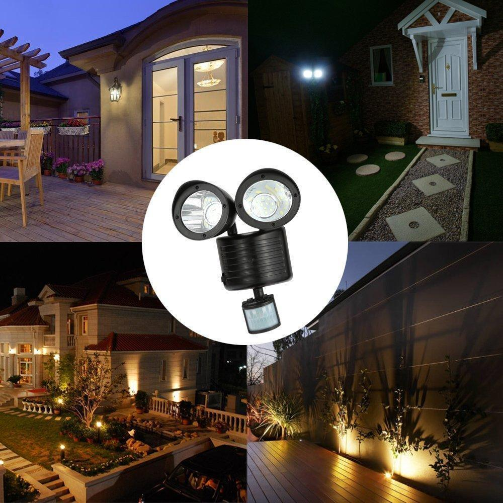 Solar - TUZECH Solar Lights 22 LEDs Wall Mounted Motion Sensor Light Indoor/Outdoor Garden Solar Adjustable Detection Path Wall Emergency Security Lamp-Auto Charge/Auto On/Off