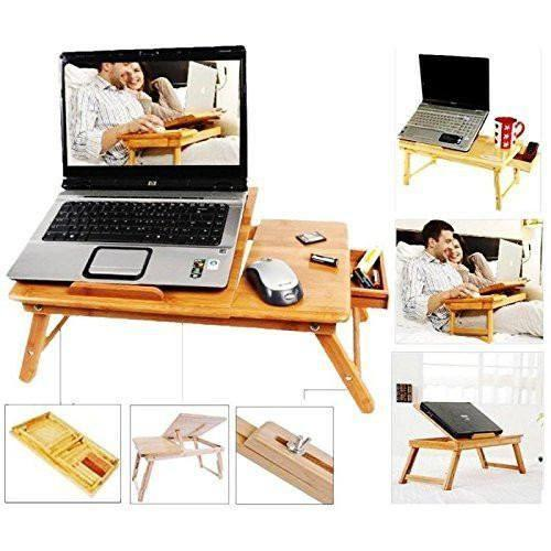 Table - Make In India Multipurpose Laptop Table Bed Tray Foldable, Wooden And Ventilated For Study / Reading / Eating / Craft-work