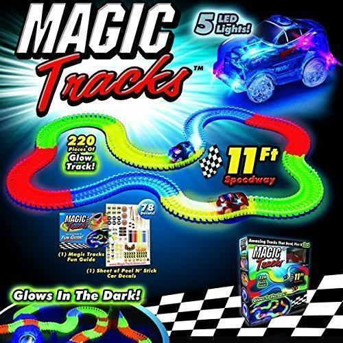 Toys - Night-Glow Running Car Toy 11 Feet-Magic Tracks For All Ages