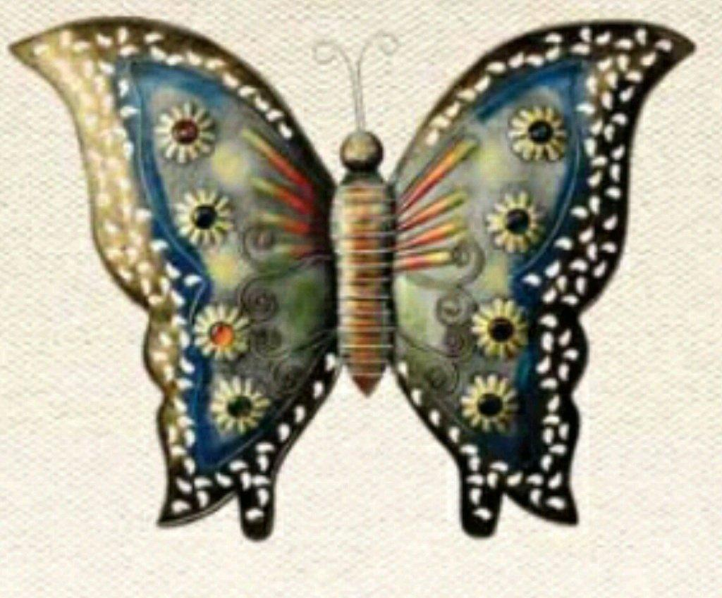 Tuzech Metal Designer Handmade Handicraft Gift Item Showpiece Wall Decor -Large Colourful Butterfly
