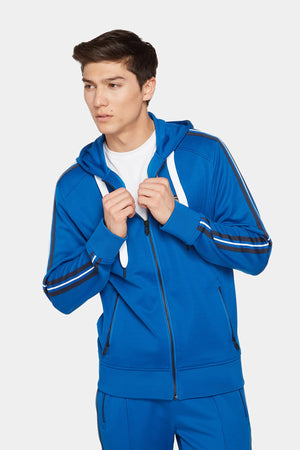 Double Knit Zip Up Jacket With Hood