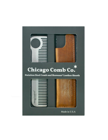 CHICAGO COMB CO - Gift Set - Model 1 Stainless with English Tan Sheath