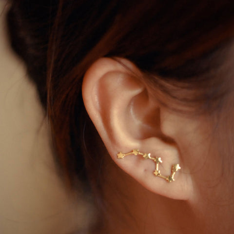 Gold/Silver Color Big Dipper Stud Earrings
