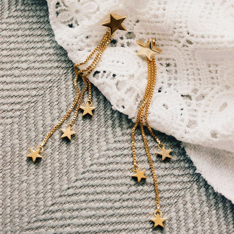 Gold Color Stars Design with Long Tassel