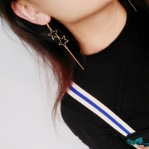 Hollow Star Pentagon Drop Earrings Long Tassel