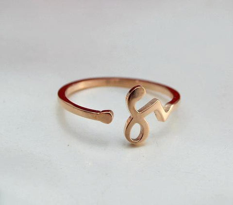 Zodiac Symbol Rose Gold Color Women's Adjustable Ring