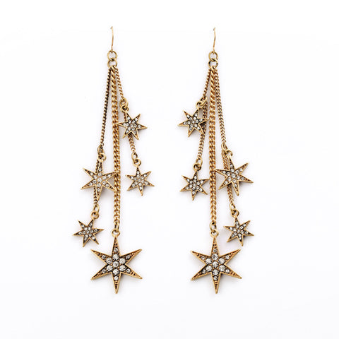 Retro Elegant Shining Rhinestone Star Tassel Earrings