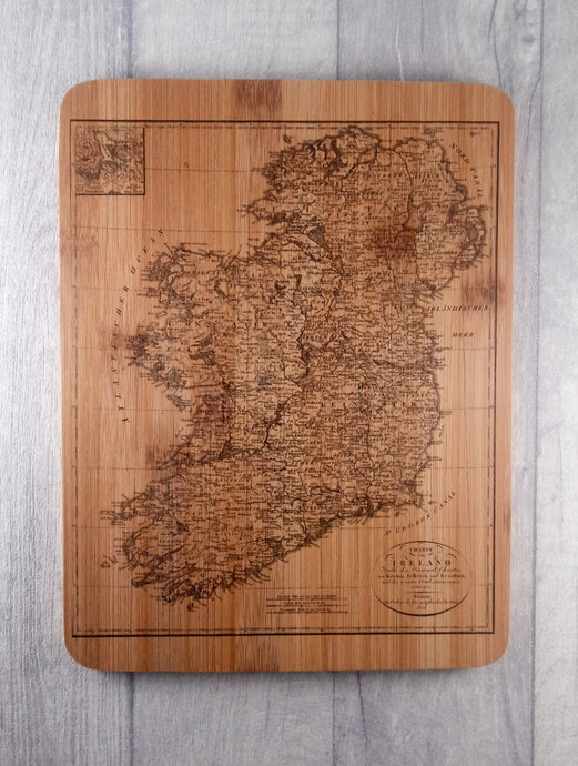 Vintage map of Ireland chopping board.