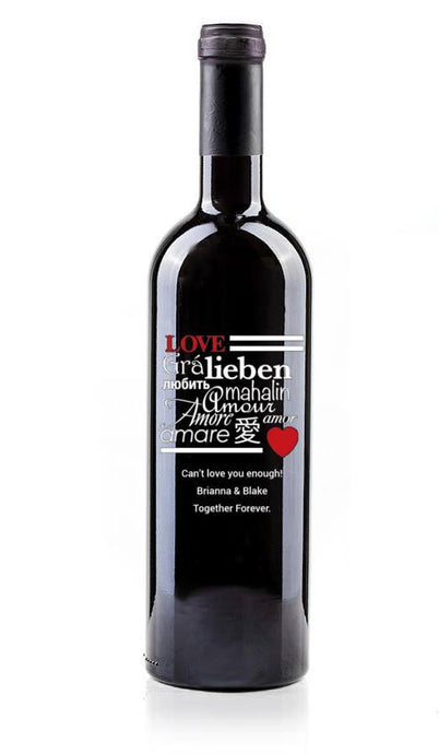 (love4) Hand Painted Custom Engraved Wine Bottle