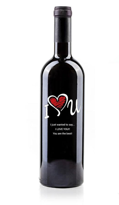 (love5) Hand Painted Custom Engraved Wine Bottle