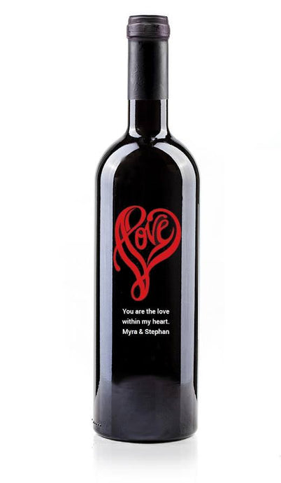 (love7) Hand Painted Custom Engraved Wine Bottle