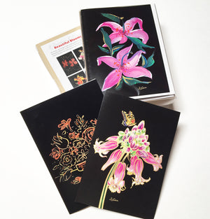 Beautiful Blooms Collection - Hand Glittered Boxed set (6 cards+envelopes)