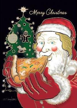 Santa with Pizza-1027