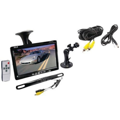 "Pyle Pro 7"" Window Suction-mount Lcd Widescreen Monitor & License Plate Mount Backup Color Camera With Distance-scale Line (pack of 1 Ea)"