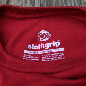 slothgrip hang happy tee - close up