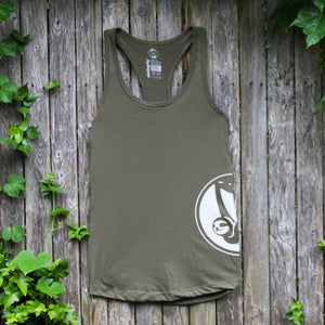 slothgrip hang happy racerback tank forest front