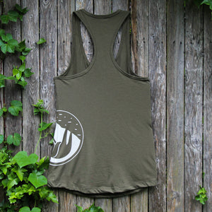 slothgrip hang happy racerback tank forest rear