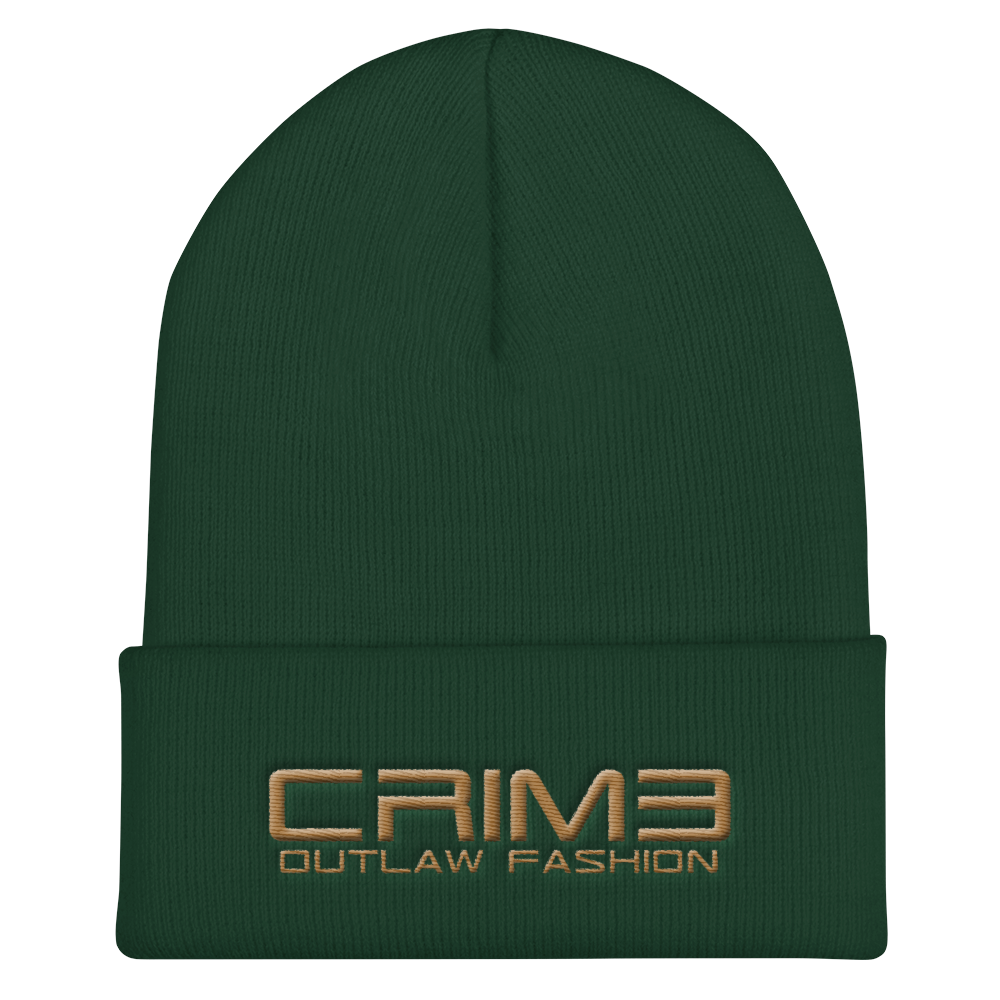 Crime Outlaw Fashion Cuffed Beanie 3d puff - hustleport