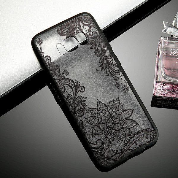 Retro Lace Flower Phone Cases For Smasung Galaxy S8 Plus S7 S6 edge Fundas Fashion Sexy Paisley Floral Case Soft TPU Back Cover - hustleport