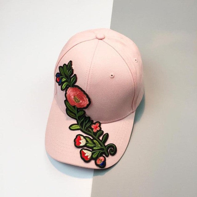 Floral Applique Baseball Cap 2017 Summer New Women Men Couple Unisex Snapback Hip Hop Flat Leisure Hat cap wholesale - hustleport