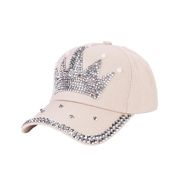 New Fashion Unisex Baseball Cap Rhinestone Crown Shaped Boy Girls Snapback Hat Casquette hat Sports Outdoors Cap - hustleport