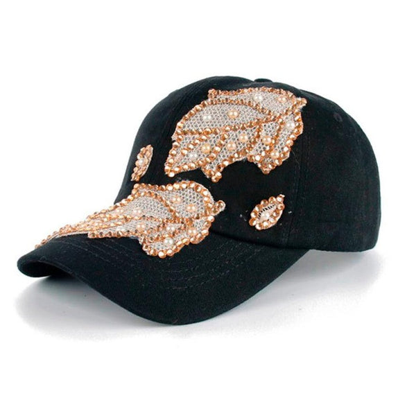 Women Men Denim Snapback Fashion Leaves Rhinestone Baseball Cap gorras Hip Hop Hat bone masculino - hustleport