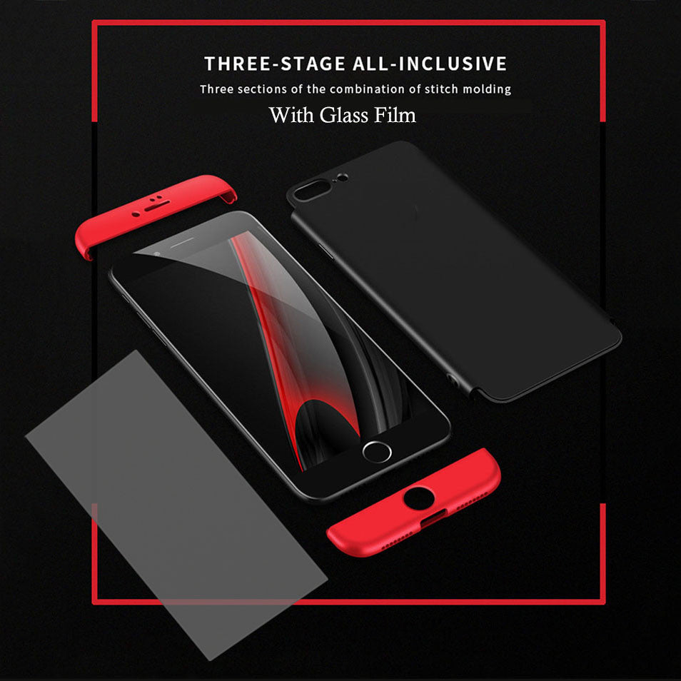 3 in 1 Knight Armor Phone Cases For iphone 7 6 6s Plus SE 5 5S Case Ultra thin Fashion Phone Cover Matte Cases Screen Glass Film - hustleport