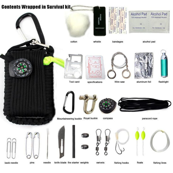 Paracord Gear Emergency 27 in 1 Survival Kit - hustleport