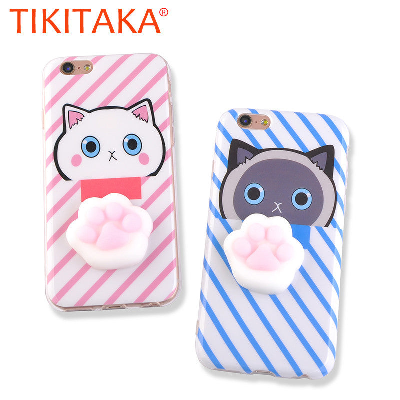 3D Cute Cartoon Cat Phone Cases For iphone 7 6 6s Plus Cover Funny Pressure Release toys Soft TPU Squishy Squeeze Cats Paws Case - hustleport