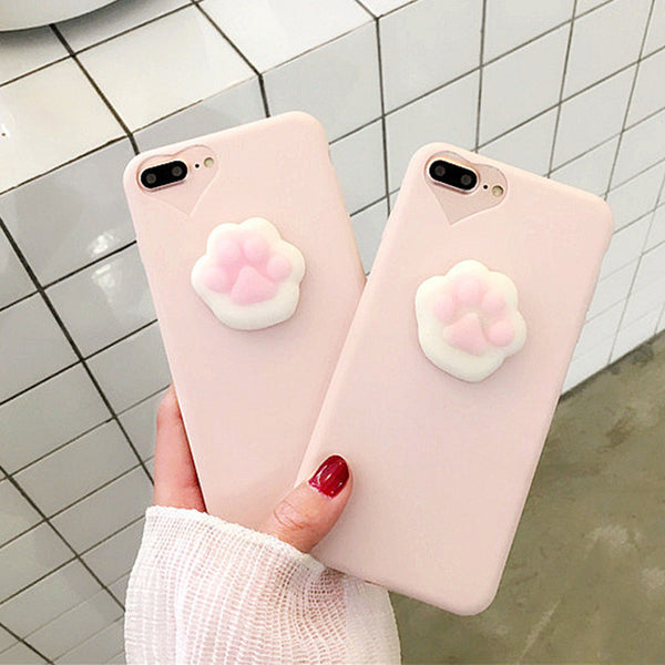 Cute 3D Cartoon Cat Claw Phone Cases For iPhone 7 6 6s Plus Fundas Funny Squishy Toys Pressure Release Case Candy Soft TPU Cover - hustleport