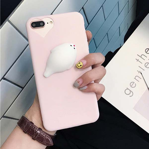 Candy Color Phone Cases For iPhone 7 6 6s Plus Fundas Funny Squishy Toys Pressure Release 3D Cute Seal Case Soft TPU Back Cover - hustleport