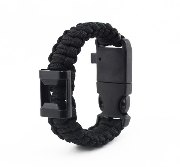 Paracord Survival Bracelet with Bottle Opener, Hiking Scraper, Emergency Whistle, Compass, Fire Starter - hustleport