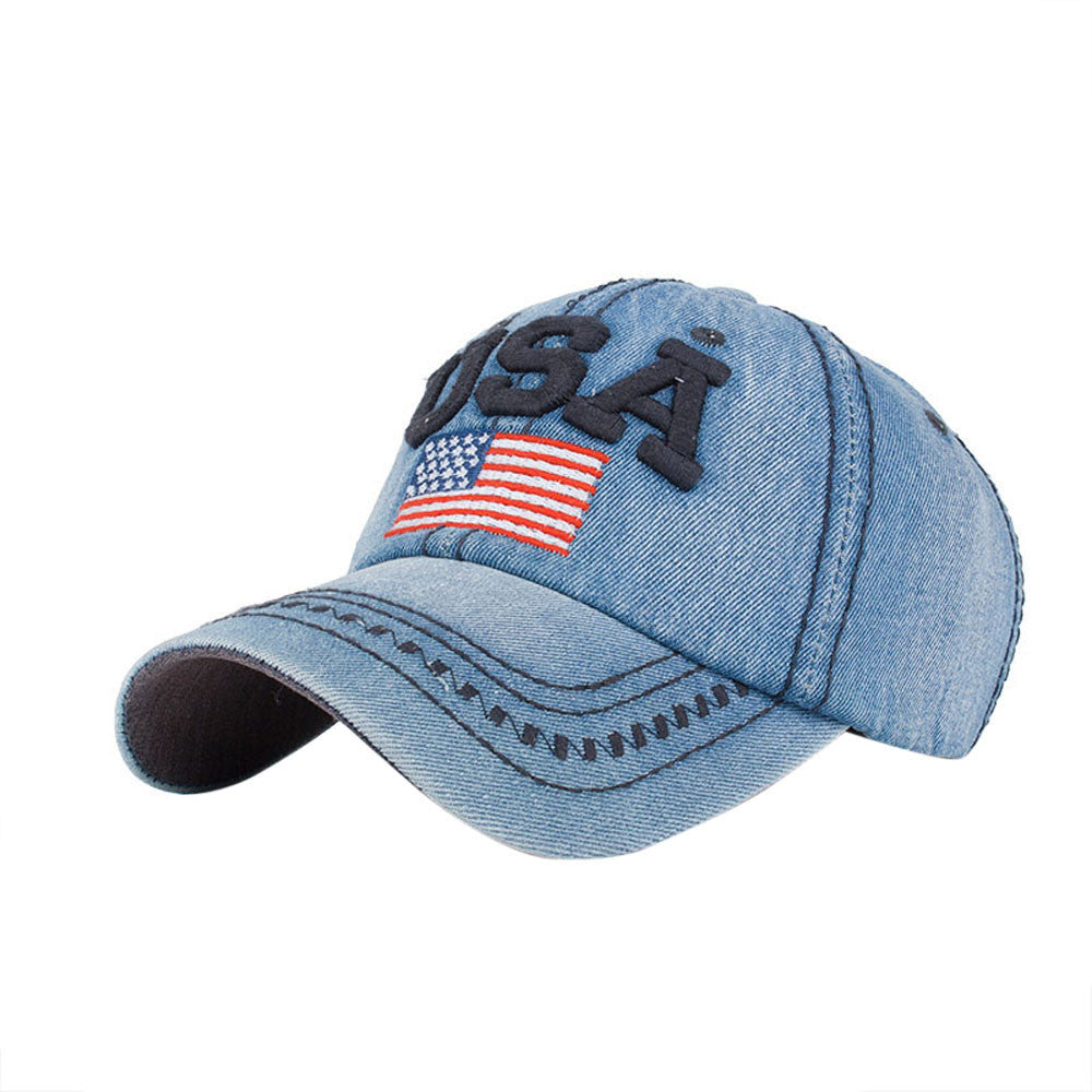 Women Men USA Denim Rhinestone Baseball Cap Snapback Hip Hop Flat Hat - hustleport