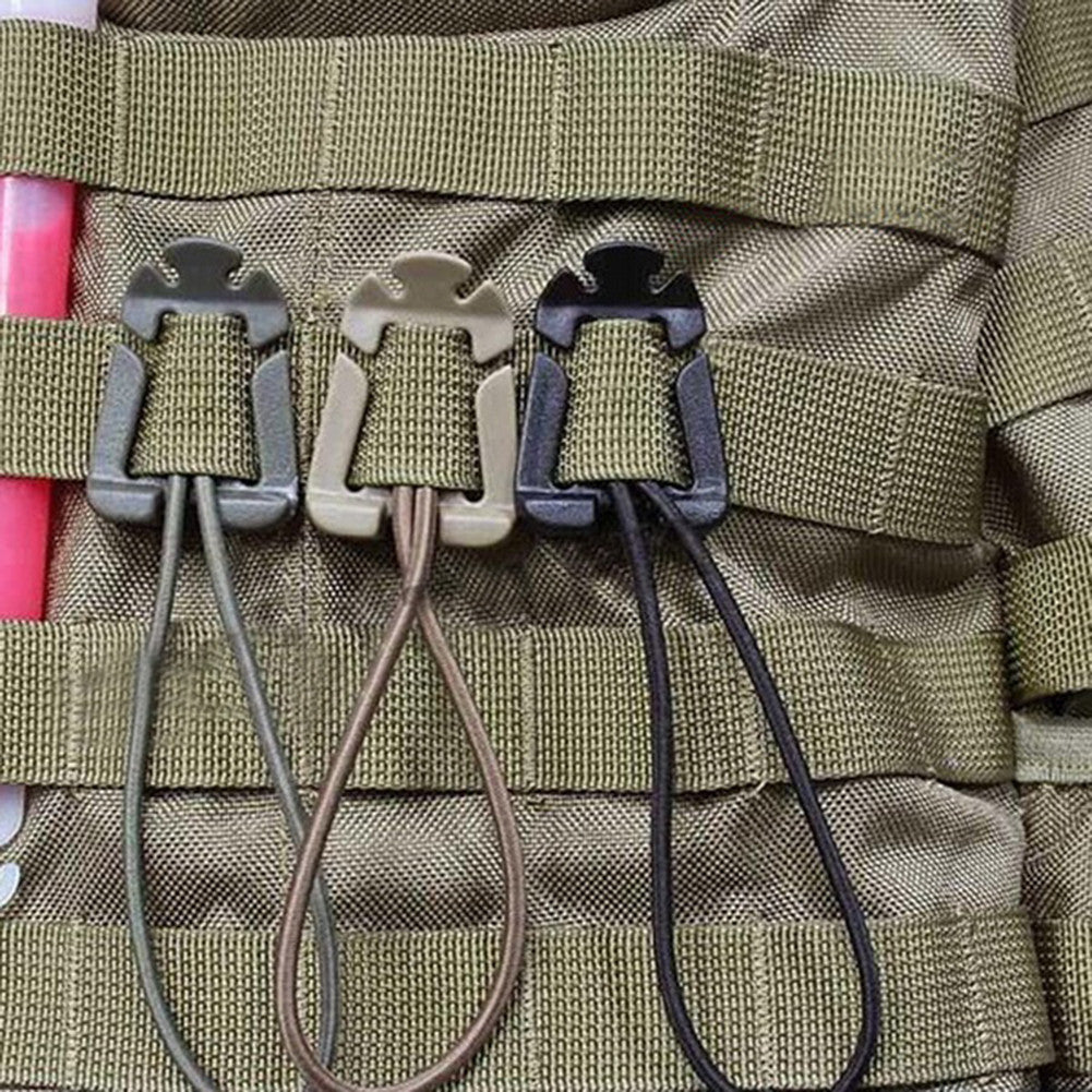 1 Pair Tactical Molle Strap Webbing Dominator Elastic Cord Hang Buckle Clips - hustleport