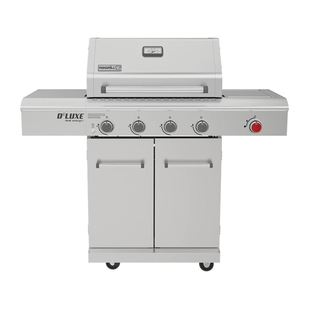 Deluxe 4-Burner Propane Gas Grill in Stainless Steel with Searing Side Burne