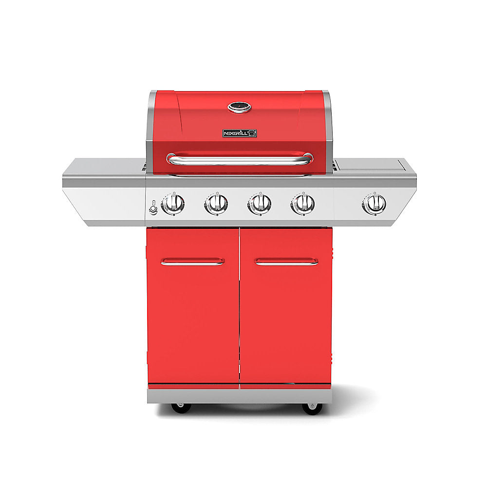 NexGrill 4-Burner Propane BBQ in Red with Side Burner