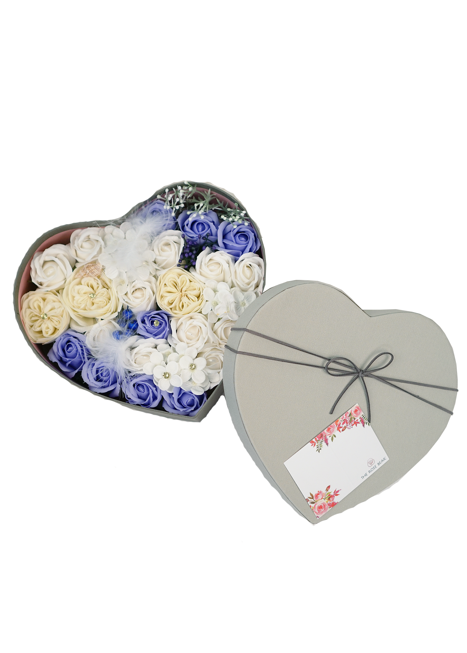 Periwinkle Sea Soap Roses in a Heart Box