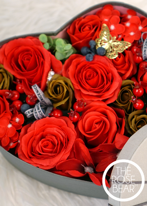 Ruby Roses in a Heart Box