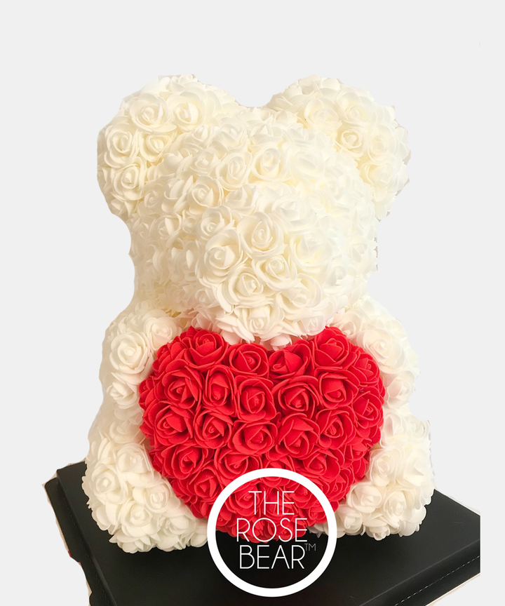 For Nikita G - Custom Queen Red Rose Bear with White Heart